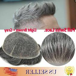 100%Human Hair Replacement Mens Toupee Hairpieces Full SWISS