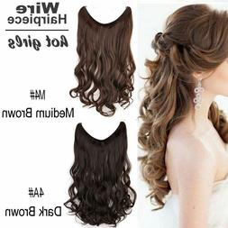 """15-24"""" Hidden Body Wavy Invisible Wire Halo 100% Remy Human"""