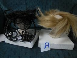 """2 CURLY BRAIDED SWIRL BLOND & BLACK 5""""+  DOLL HAIR REPLACEME"""