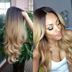 """22"""" Long Wavy Wig Ombre Black To Blonde Heat Resistant Synth"""