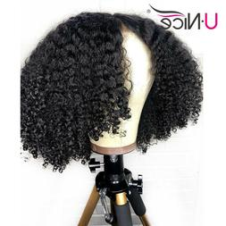 Afro Kinky Curly Wig Human Hair Ponytail Glueless Lace Front