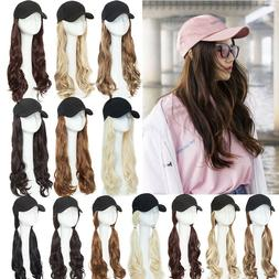 Baseball Cap with Synthetic Hair Wavy Full Wigs Hat Real Nat