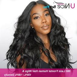 UNice Body Wave Lace Front Human Hair Wigs 360 Lace Frontal