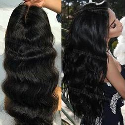 Brazilian Remy Human Hair Lace Front Wigs Pre Plucked Wavy F