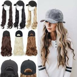 Curly Baseball Cap with Hair Wig Full Wigs Wavy HairPiece  R
