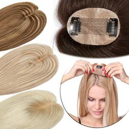 Deluxe 100% Human Hair Replacement Top Topper Toupee Clip in