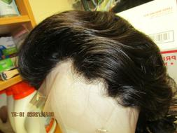 """Drag Queen Awesome Human Hair 360 Lace Frontal 8"""" Black Wig"""