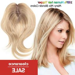 Free Part 100% Human Hair Topper Hairpiece Top Replacement S
