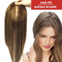 Free Part Human Hair Topper Wig Replacement Blonde Brown Bla