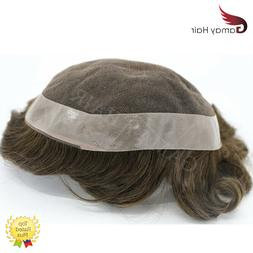 French Lace Mens Toupee Lace Poly Hairpiece Skin PU Around H