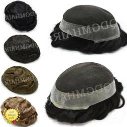 French Lace Mens Toupee Poly Around Hairpiece Human Hair Rep