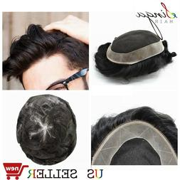 French Lace Mens Toupee Poly Around Human Hair System Replac