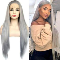 Gray Lace Front Wigs Long Silk Straight Synthetic Hair Repla