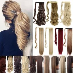 Hair ponytail Clip In as Real Human Hair Extensions Wrap Aro