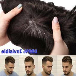 Invisible Skin Mens Hair Replacement System Men Toupee Hairp
