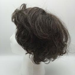 JUNEE FASHIONS 100 % HUMAN HAIR DARK BROWN WITH SOME GRAY SH