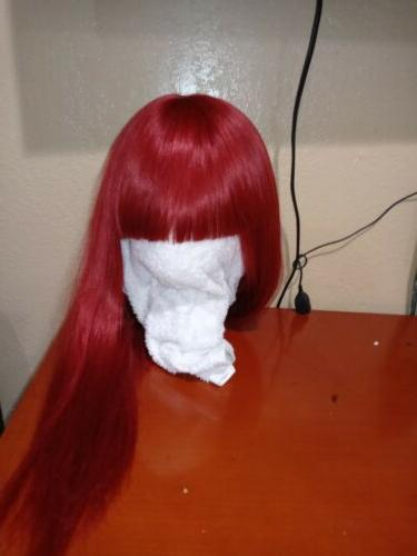 red hair with full bangs long layered