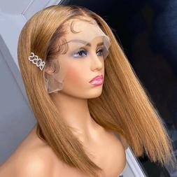 lace front wig human hair bob,T4/27 ombre honey blonde Color