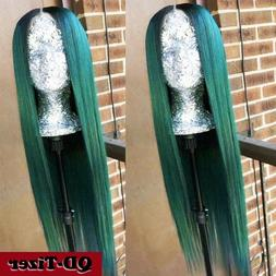 Long Straight Hair Ombre Green Glueless Heat Resistant Synth