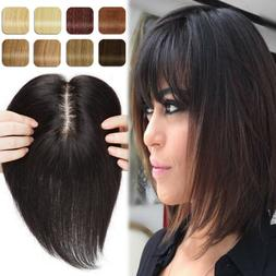 Luxury 100% Human Hair Replacement Topper Toupee Clip in Hai