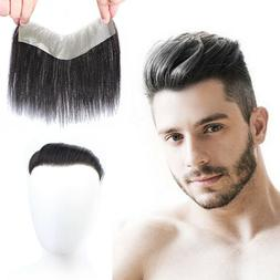 Men Straight Human Hair Frontal Mono Natural Hairline Hairpi