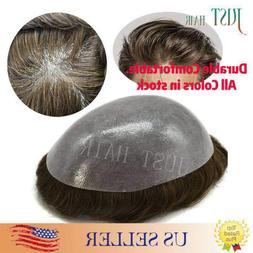 Mens Hair Replacement System All Poly Skin Men Toupee Hairpi