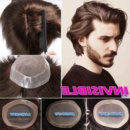 Mens Hair Replacement System Toupee Hairpieces Human Hair Wi