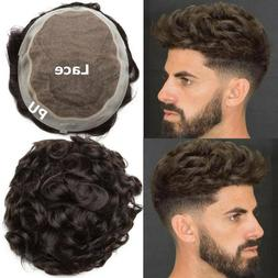 Mens Toupee Hairpiece Full SWISS LACE Wig Human Hair Replace