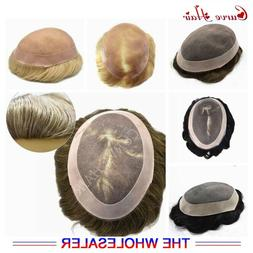 Mono Mens Toupee Hand Tied Human Hair Replacement System Fin