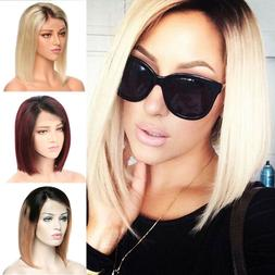 Pre Plucked Ombre Short Blonde Bob Lace Front Wigs 100% Huma