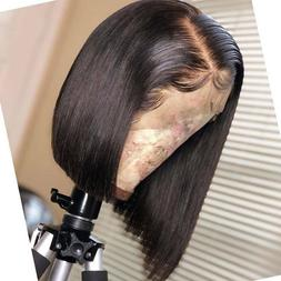 Pre Plucked Peruvian Virgin Human Hair Lace Front Wig Short