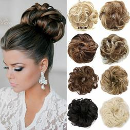 Real Soft Curly Messy Bun Hair Piece Scrunchie 100% Natural