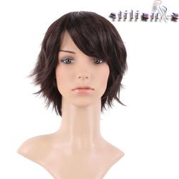 S-noilite Silky Straight Cosplay Party Hair Wigs Dark Brown
