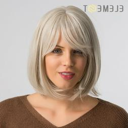 Short Bob Wig With Bangs Creamy White Natural Cosplay Party