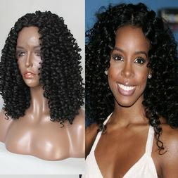 Short Kinky Curly Synthetic Lace Front Wigs Heat Resistant F