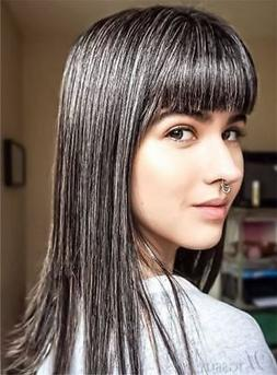Smooth Straight Full Bang Salt and Pepper Hair Capless Wigs