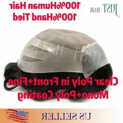 Thin Skin Mens Toupee Hair Replacement System Fine Mono Hair