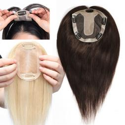 Topper Human Hair Clip in Hairpiece Top Toupee Piece Replace