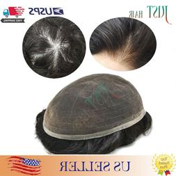 Full Thin Lace Mens Toupee Human Hair Replacement Swiss Lace