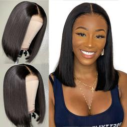 US Short Lace Straight Front Black Hair Wigs Brazilian Wig P